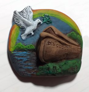 Fridge Magnet showing Noah's ark and the covenant rainbow.